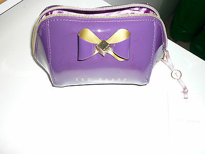Ted Baker NEW Denty Trapeze Bow Small Cosmetic Make Up Wash Bag Light Purple