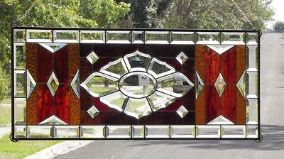 "Warm& Inviting   Beveled Stained Glass Window Panel • 38 1/2""-16 1/2"""