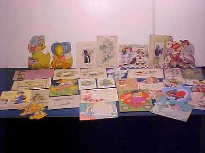 Great Lot Of 33 Vintage Easter & Valentine Cards From Early 1900's