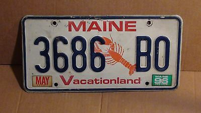 """1996 Maine """"Lobster/Vacationland License Plate (3686 BO)"""