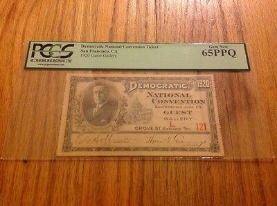 1920 Democratic National Convention Ticket James Cox Franklin Roosevelt PCGS