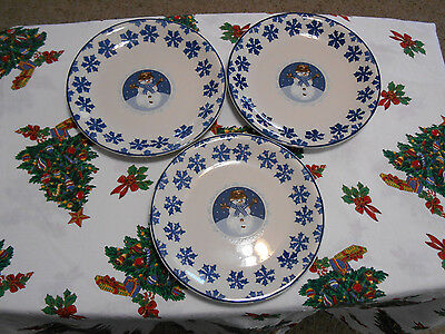 Folkcraft Stoneware Cameo Snowman 3 Plates 7.5 Inch Christmas or Winter Themed