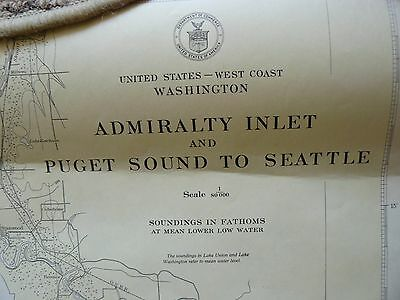 Vintage 1945 Chart Map Admiralty Inlet and Puget Sound to Seattle USC & GS 6450