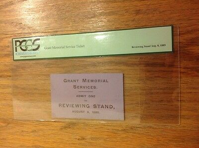 1885 President Ulysses S. Grant Memorial Services Ticket Pass PCGS Currency