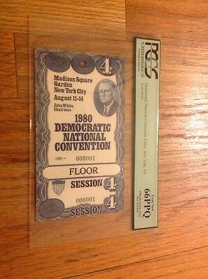 1980 Democratic National Convention Serial #1 FLOOR CREDENTIAL Jimmy Carter PCGS