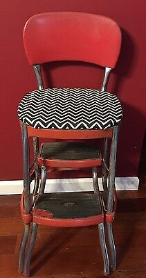 VINTAGE 1950'S CHROMECRAFT RED PULL OUT STEP STOOL & Chair COMBO