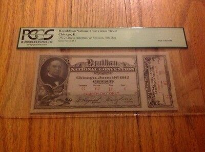 1912 Republican National Convention Ticket President William Howard Taft PCGS