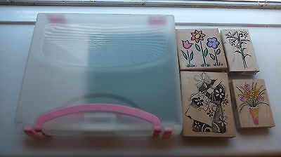 Rubber stamps and plastic  storage case.Craft room clearout