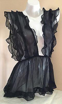 Victorias Secret Designer Collection Silk Chiffon Ruffle Med Babydoll $198 D586