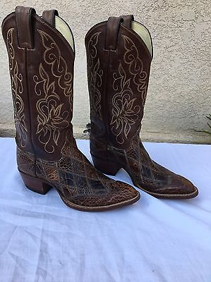 VINTAGE Justin Western Cowboy Boots Sea Turtle Skin Boots Size 7 D