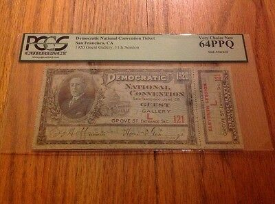 1920 Democratic National Convention Full Pass James Cox Franklin Roosevelt PCGS