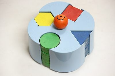 Vintage PLAYSKOOL Wooden Stacking Sorting Color Shaped Blocks Learning Toy USA