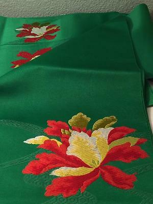 Festive Holiday Japan Obi, Table Runner Green w/ 1 Lg & 2 Sm Embroidered Flowers