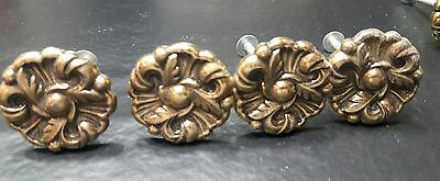 Vintage antique brass metal Drawer Knobs Pulls Provincial Flower lot of 4 lot 4