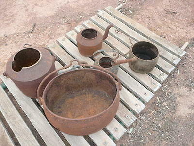 vintage cast iron , old cast iron pots