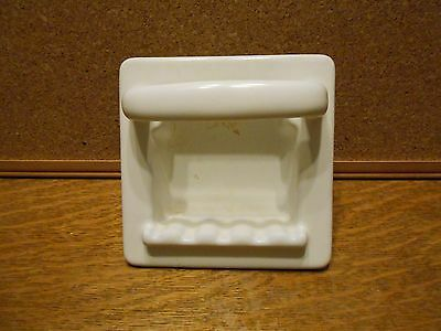 Vintage White Cast Iron Soap Dish Enamel Porcelain Coated Recessed Wall Mount