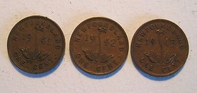 1941,1942 & 1943  Newfoundland Small Cent  3 Coin Collector Lot