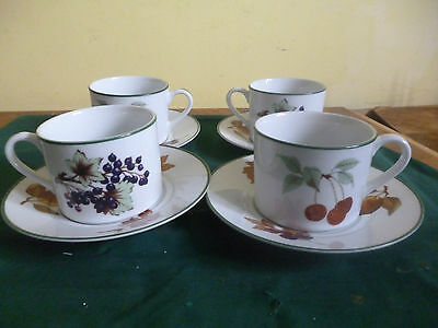 ROYAL WORCESTER EVESHAM VALE TEA CUPS AND SAUCERS  x 8  BRITISH