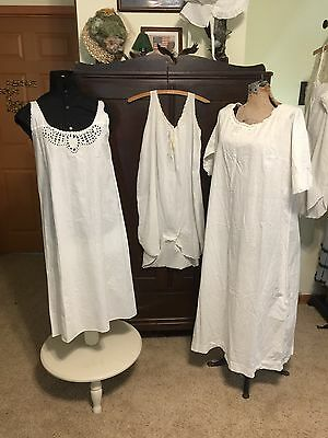 Antique Victorian Edwardian Corset Cover Nightgown  Lot Of 3