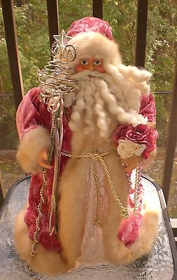 Large Victorian Style Shabby Chic Christmas Pink Santa Doll Figure Centerpiece