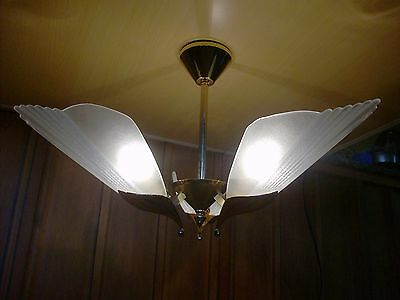 F Fabbian (Italy) Slip Shade Chandelier and Sconce Set, Brass & Handmade Glass