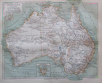 1885 Australien Original alte Landkarte antique map Lithografie Australia