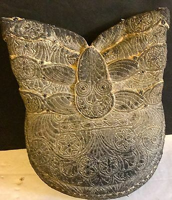 c1800s Antique Highly Detailed Shoulder Pad or Purse Hand Tooled Thread