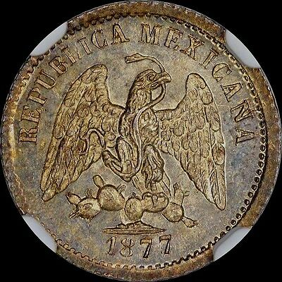 Tied Finest @ Pcgs & Ngc Ms66 1877/6 Mo-M 5C Centavos Mexico Uber-Toned, Silver