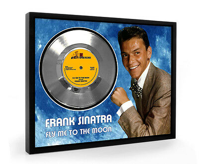 Frank Sinatra Fly Me To The Moon Framed Silver Disc Display Vinyl (C1)