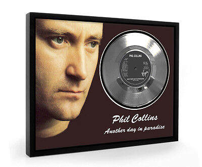 Phil Collins Another Day In Paradise Framed Silver Disc Display Vinyl (C1)