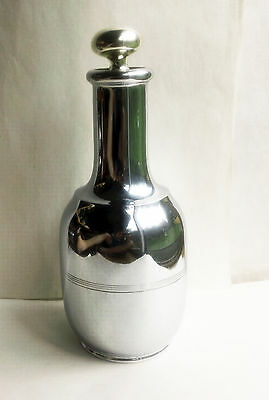 "Antique 1909 Art Deco Manning & Bowman Chrome Thermal Vacuum Carafe - 11.5"" Tall"