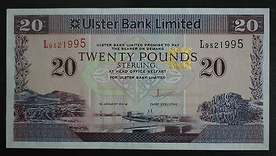 2014 Northern Ireland £20 Pounds Ulster Bank P337 About Uncirculated !