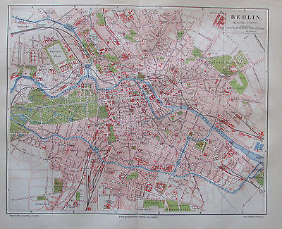 1885 BERLIN DEUTSCHLAND alter Stadtplan Antique City Map Lithographie