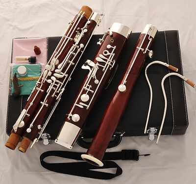 Prof Maple Wooden Bassoon Silver Plated Key 2 Bocals Brand New With Case