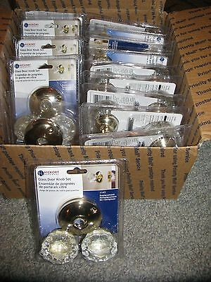 15 Hickory Rosette Glass Door Knob Sets - Antique Style Doorknobs - Crystal New