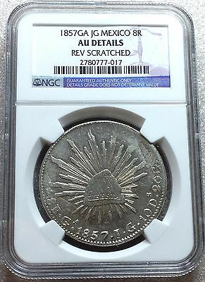 1857 Ga JG Mexico Cap & Rays 8 Reales NGC AU Details Scarce