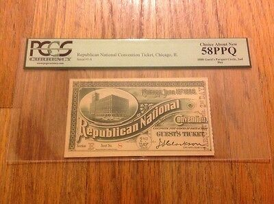 1888 Republican National Convention President Benjamin Harrison Ticket Pass PCGS