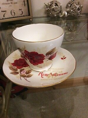 Duchess Bone China Ruby Wedding Roses Cup & Saucer