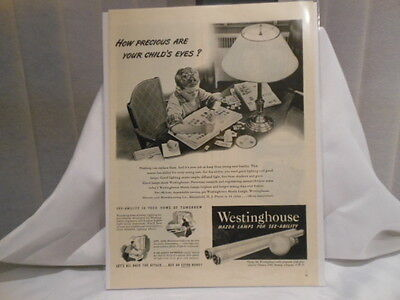 Westinghouse Mazda Lamps  11X14 Advertising Print Ad