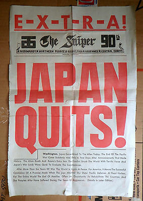 """Original WW2 Poster """"JAPAN QUITS"""" 1945 from 90th INF GERMANY The Sniper paper"""