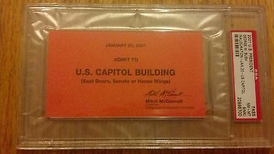 2001 Inauguration President George W. Bush Swearing in Capitol Pass Ticket PSA 8