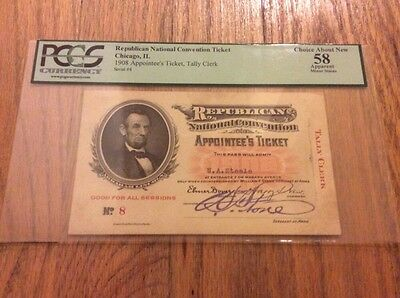 1908 Republican National Convention Ticket President William Howard Taft PCGS