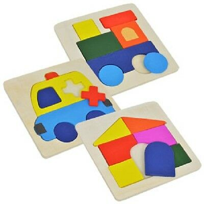 Toddler Wood Puzzles : Lot Of 3 Wooden 7pc. Puzzles House Train & Ambulance New