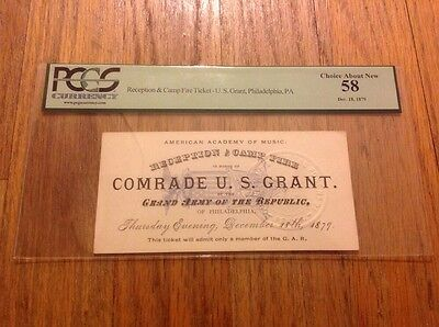 1879 President Ulysses S. Grant Philadelphia G.A.R. Reception Ticket Pass PCGS
