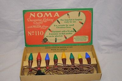 Vintage NOMA Christmas Tree Decoration Light String No. 110 + Flip Display Box