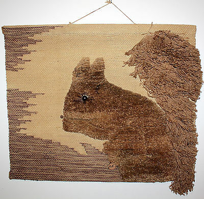 Don Freedman Fiber Textile Art Squirrel Wall Hanging Modern Hand Made In India