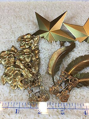 11 Vintage Pieces Of Pressed Metal, Pins, Decorative Metal, Gold Finish(47)