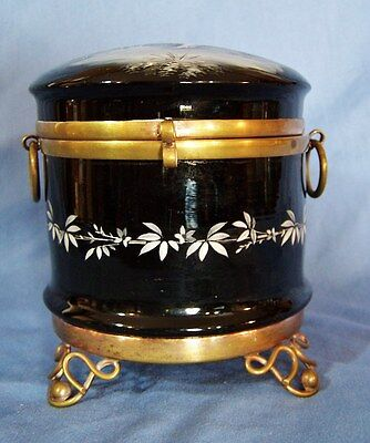 "LARGE Antique MARY GREGORY Jewelry Trinket Box BLACK GLASS HP Enamel 4 1/2"" hi"