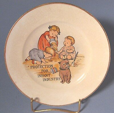 Circa 1900 Protection For Infant Industry Plate Children and Dog on Beach