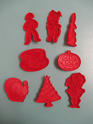Vintage 1970's Tupperware Holidays Cookie Cutters Red Complete Set of 8